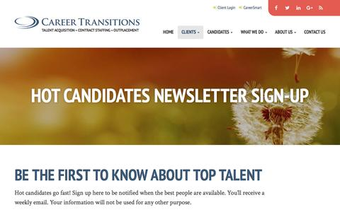 Screenshot of Signup Page careertransitionsllc.com - Hot Candidates Newsletter Sign-up - Career Transitions - captured May 11, 2017