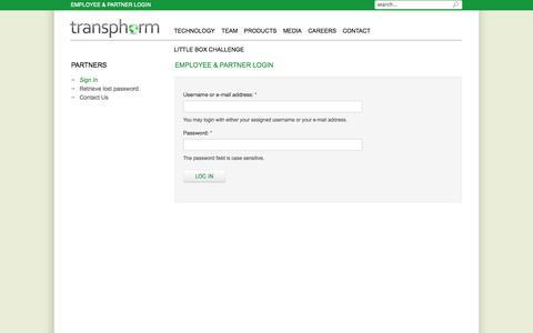 Screenshot of Login Page transphormusa.com - EMPLOYEE & PARTNER LOGIN | Transphorm, Inc. - captured Sept. 17, 2014