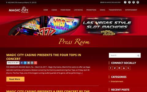 Screenshot of Press Page magiccitycasino.com - Magic City Casino - Press Room - captured April 5, 2017