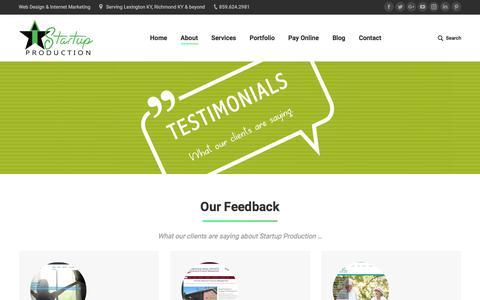 Screenshot of Testimonials Page startupproduction.com - Testimonials | Startup Production, LLC - captured Sept. 21, 2018