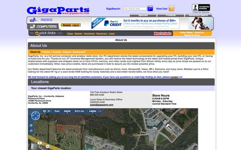 Screenshot of About Page Locations Page gigaparts.com - About Us - captured Oct. 22, 2014