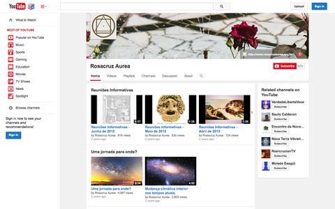 Screenshot of YouTube Page youtube.com - Rosacruz Aurea  - YouTube - captured Nov. 5, 2014
