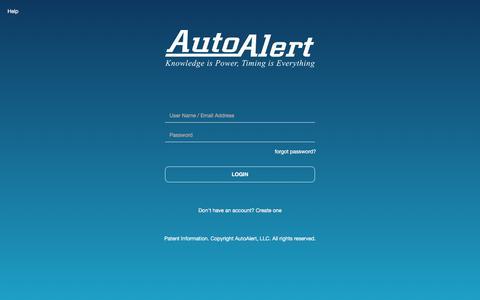 Screenshot of Login Page autoalert.com - AutoAlert | Login - captured Feb. 8, 2020