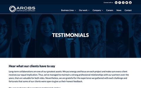 Screenshot of Testimonials Page arobs.com - Testimonials - Hear what our clients have to say - AROBS - captured Feb. 23, 2019