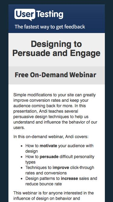 OnDemand Webinar: Designing to Persuade and Engage - with Andi Galpern | UserTesting
