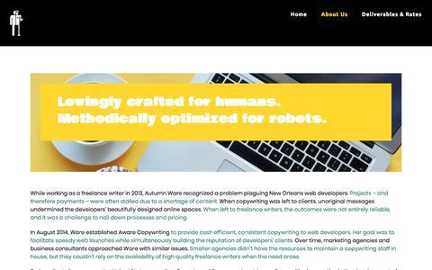 Screenshot of About Page awarecopywriting.com - Aware Copywriting | Website & Marketing Content for Agencies - captured Jan. 25, 2020