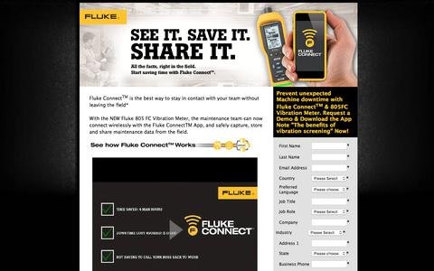 Screenshot of Landing Page fluke.com - SEE IT. SAVE IT. SHARE IT. - captured Aug. 14, 2016