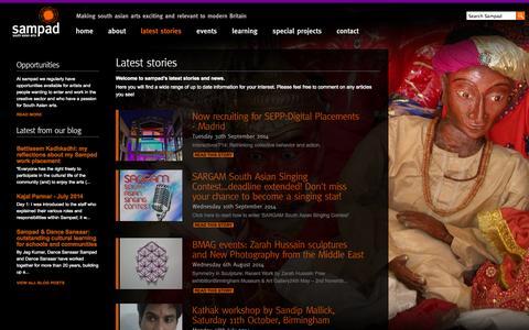 Screenshot of Press Page sampad.org.uk - Latest stories at Sampad - captured Oct. 7, 2014