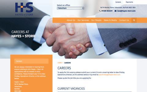 Screenshot of Jobs Page hayesandstorr.co.uk - Careers | North Norfolk Solicitors | Hayes + Storr - captured July 22, 2017