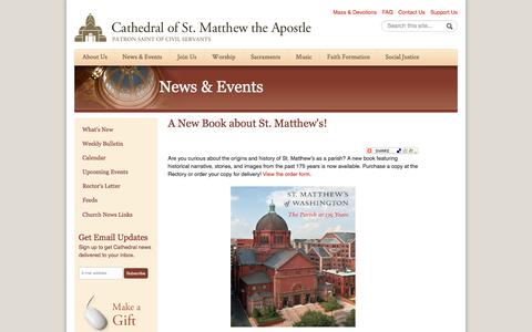 Screenshot of stmatthewscathedral.org - A New Book about St. Matthew's! | Cathedral of St. Matthew the Apostle in Washington - captured March 20, 2016