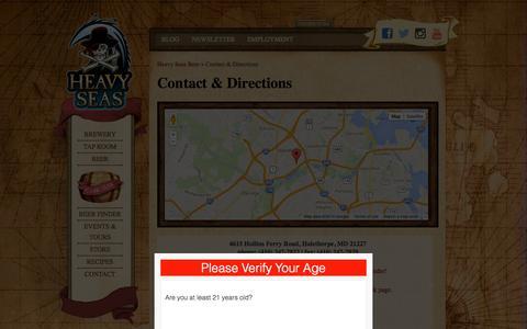 Screenshot of Contact Page hsbeer.com - Contact & Directions | Heavy Seas Beer - captured Oct. 2, 2014