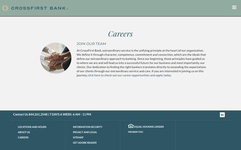 Screenshot of Jobs Page crossfirstbank.com - CrossFirst Bank > Careers - captured July 19, 2019