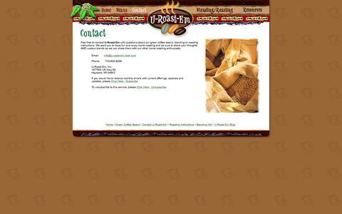 Screenshot of Contact Page u-roast-em.com - contact: U-Roast-Em - captured June 16, 2016
