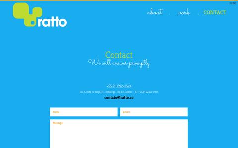 Screenshot of Contact Page ratto.co - Ratto - captured Oct. 7, 2014