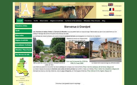 Screenshot of Home Page domainedemontflix.com - Maison d'hôtes à la ferme du Domaine de Montflix, à Grandpré - captured May 22, 2016