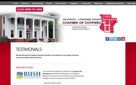 Screenshot of Testimonials Page valdostachamber.com - Valdosta - Lowndes County Chamber of Commerce - Testimonials - captured Nov. 5, 2014