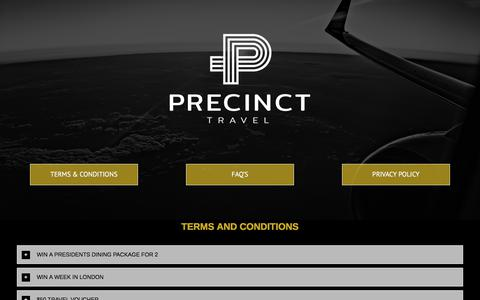 Screenshot of Privacy Page FAQ Page precincttravel.com - Ts & Cs – Precinct Travel - captured July 11, 2018