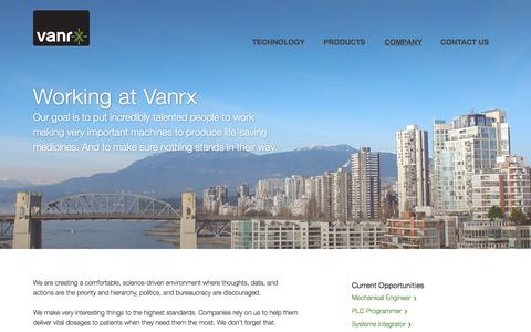 Screenshot of Jobs Page vanrx.com - Careers | Vanrx - captured Oct. 7, 2014