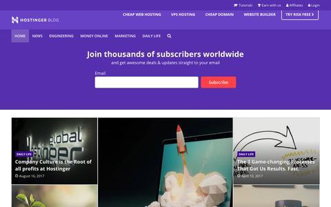 Screenshot of Blog hostinger.com - Hostinger Blog - captured Sept. 1, 2017