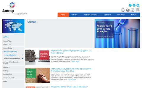 Screenshot of Jobs Page amrop.si - Careers   Amrop   Leaders For What's Next - captured Oct. 8, 2017
