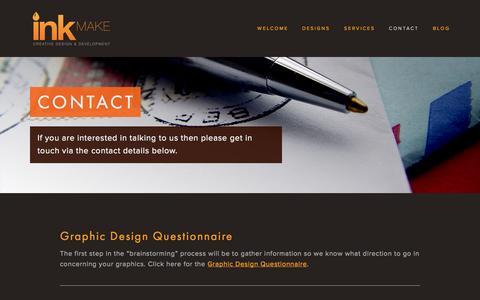 Screenshot of Contact Page inkmake.com - Contact — INKmake - captured Sept. 30, 2014