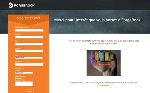Screenshot of Landing Page forgerock.com - ForgeRock Contactez-moi - captured March 10, 2017