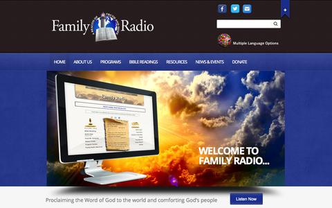 Screenshot of Home Page familyradio.com - Family Radio | To proclaim the word of God to the world and to comfort God's People - captured Sept. 23, 2014