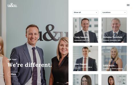 Screenshot of Team Page uandu.com - We're different. - u&u - captured Oct. 18, 2018