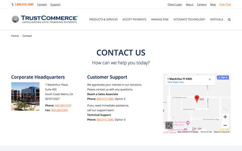 Screenshot of Contact Page trustcommerce.com - Contact Us | TrustCommerce - captured Sept. 25, 2018