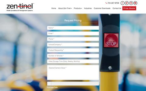 Screenshot of Pricing Page zen-tinel.com - Zen-tinel | Mobile Video Surveillance - captured Oct. 20, 2018