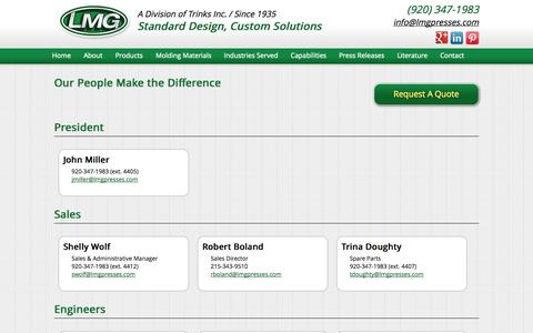 Screenshot of Team Page lmgpresses.com - Compression Press | Vacuum Press | Injection Presses | Transfer Presses - captured Sept. 26, 2014