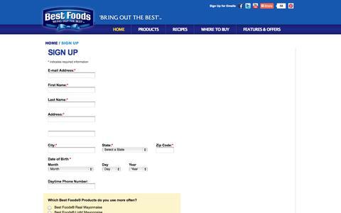 Screenshot of Signup Page bestfoods.com - Sign Up: Best Foods - captured Sept. 23, 2014