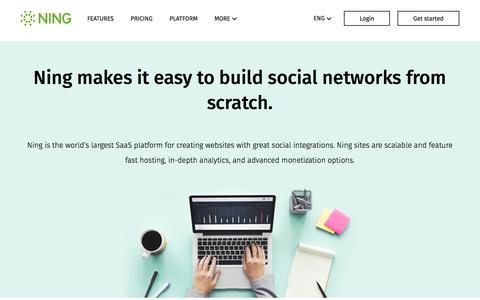 Screenshot of ning.com - How to create your own social network - Use Ning social platform - captured April 9, 2017