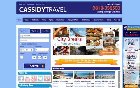 Screenshot of Home Page cassidytravel.ie - Cassidy Travel - Cheap holidays, flights, hotels and travel! - captured Sept. 23, 2014