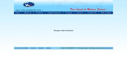 Screenshot of Site Map Page vav.in - VAV LIFE SCIENCES PVT. LTD. - captured Oct. 3, 2014