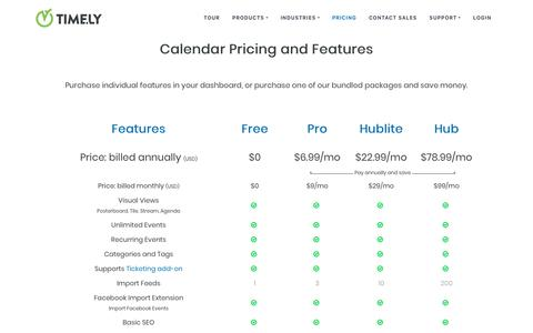 Screenshot of Pricing Page time.ly - Calendar Features Pricing Table | Timely - captured Jan. 19, 2019