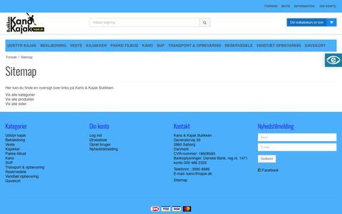 Screenshot of Site Map Page kajak.dk - Sitemap - Kano & Kajak Butikken - captured Oct. 31, 2017