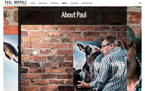 Screenshot of About Page paulworpole.com - About Paul-Portrait Commercial Product Photographer Manchester Liverpool CheshirePaul Worpole Photography - captured Oct. 2, 2014