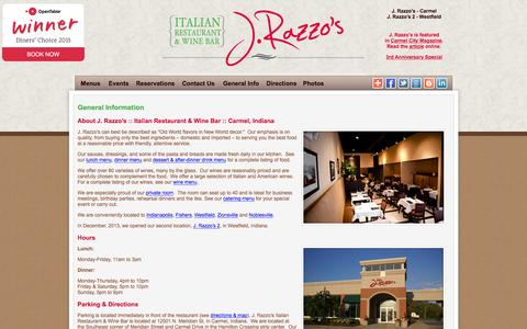 Screenshot of About Page Locations Page Hours Page jrazzos.com - Italian Restaurant & Wine Bar | Carmel Indiana - captured Feb. 3, 2016