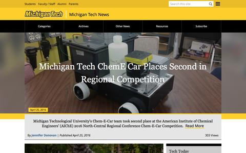Screenshot of Press Page mtu.edu - News | Michigan Technological University - captured April 27, 2016