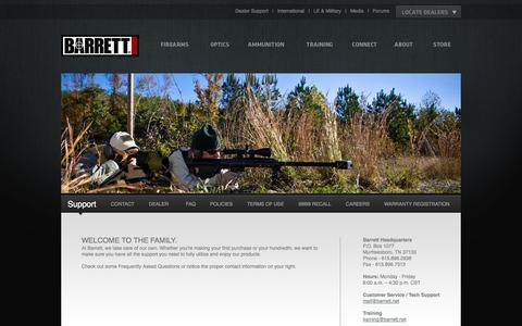Screenshot of Support Page barrett.net - Barrett |         Support - captured Sept. 25, 2014