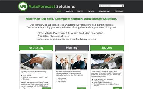 Screenshot of Home Page autoforecastsolutions.com - AutoForecast Solutions - captured Nov. 21, 2016