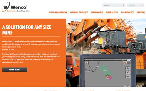 Screenshot of Home Page wencomine.com - Wenco Mining Systems | Getting More Out of Your Mine - captured Sept. 14, 2015