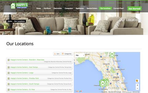 Screenshot of Locations Page happysnation.com - Our Locations - Happy's Home Centers - captured Nov. 18, 2015