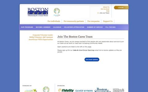 Screenshot of Jobs Page bostoncares.org - Boston Cares | Join our Team - captured July 30, 2016