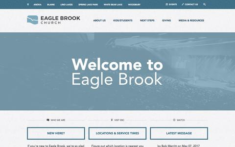 Screenshot of Home Page eaglebrookchurch.com - Home | Eagle Brook Church - captured May 13, 2017