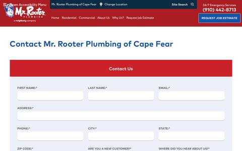 Screenshot of Contact Page mrrooter.com - Contact Us | Mr. Rooter Plumbing of Cape Fear - captured May 20, 2019