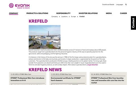 Evonik Industries - Specialty chemicals - Site Krefeld, Germany - Evonik Industries AG