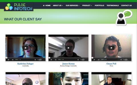 Screenshot of Testimonials Page pulseinfotech.com - Testimonials - Pulse Infotech - captured July 19, 2016