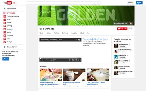 Screenshot of YouTube Page youtube.com - GoldenPaints  - YouTube - captured Oct. 31, 2014